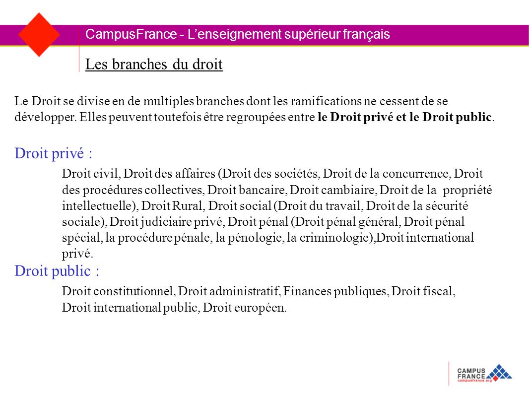 Les branches du droit CampusFrance - Lenseignement supérieur français Le Droit se divise en de multiples branches dont les ramifications ne cessent de se développer.