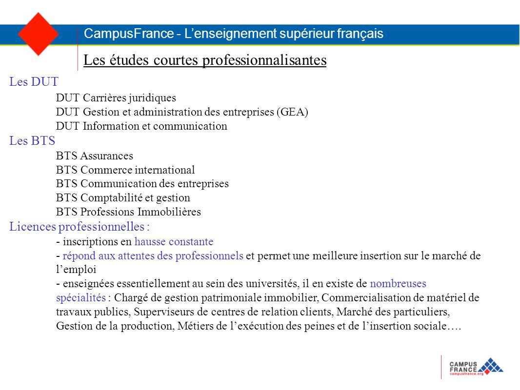 Les études courtes professionnalisantes CampusFrance - Lenseignement supérieur français Les DUT DUT Carrières juridiques DUT Gestion et administration