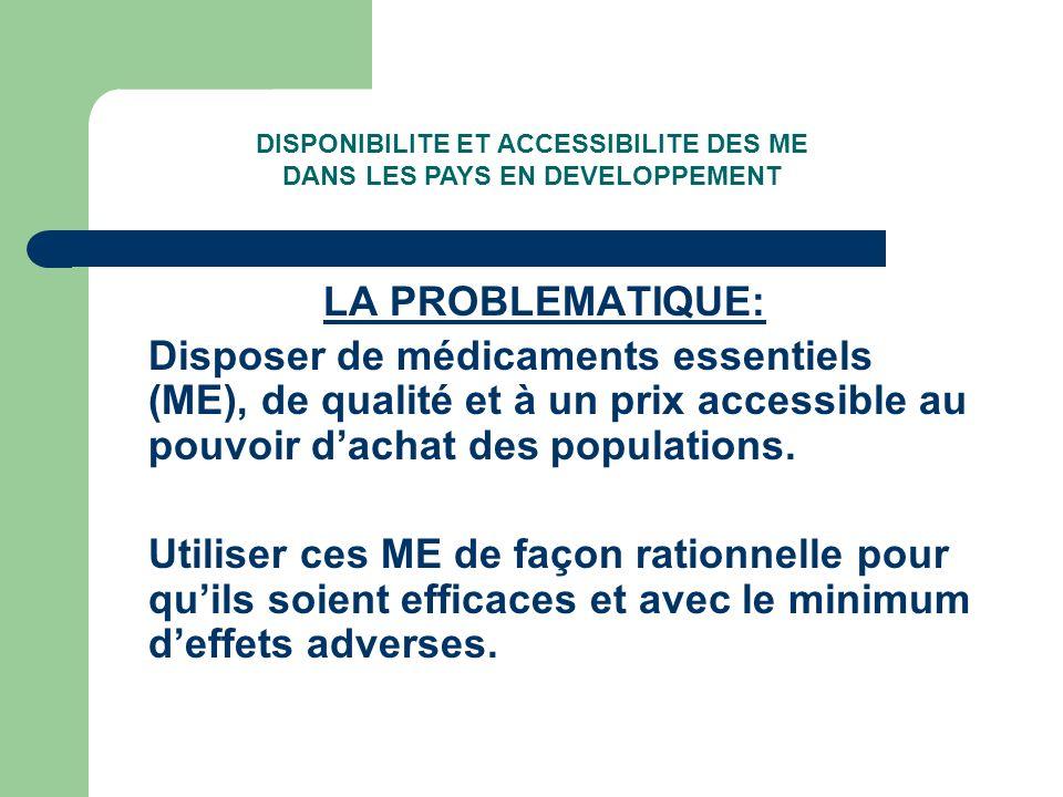 LA PROBLEMATIQUE: Disposer de médicaments essentiels (ME), de qualité et à un prix accessible au pouvoir dachat des populations.