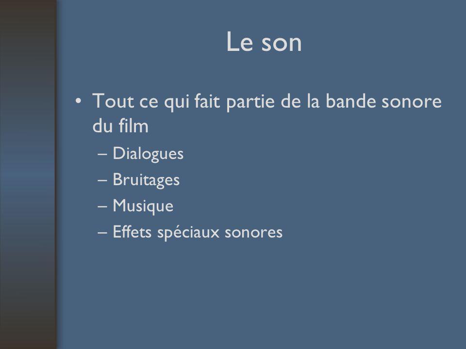 Le son Tout ce qui fait partie de la bande sonore du film –Dialogues –Bruitages –Musique –Effets spéciaux sonores