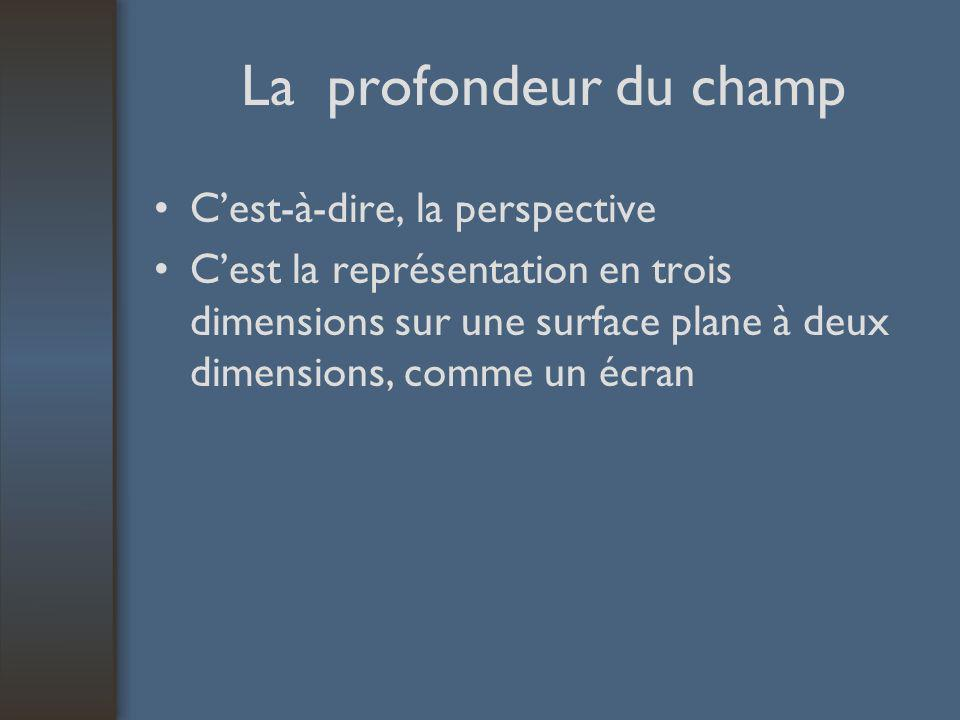 La profondeur du champ Cest-à-dire, la perspective Cest la représentation en trois dimensions sur une surface plane à deux dimensions, comme un écran