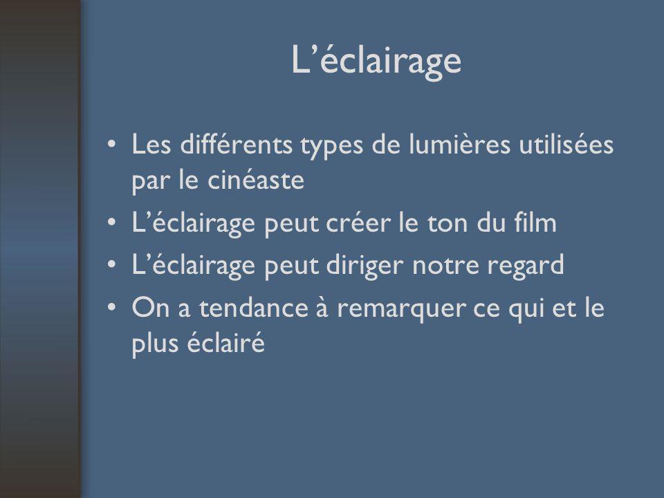 Léclairage Les différents types de lumières utilisées par le cinéaste Léclairage peut créer le ton du film Léclairage peut diriger notre regard On a tendance à remarquer ce qui et le plus éclairé