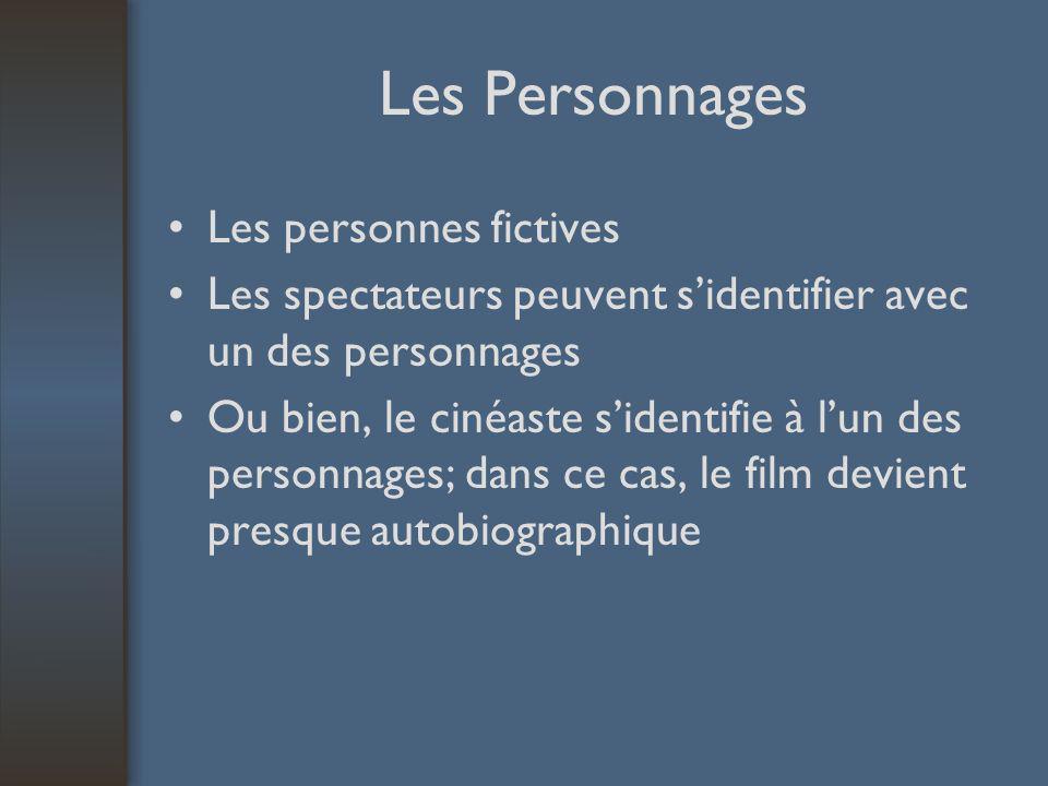 Les Personnages Les personnes fictives Les spectateurs peuvent sidentifier avec un des personnages Ou bien, le cinéaste sidentifie à lun des personnag