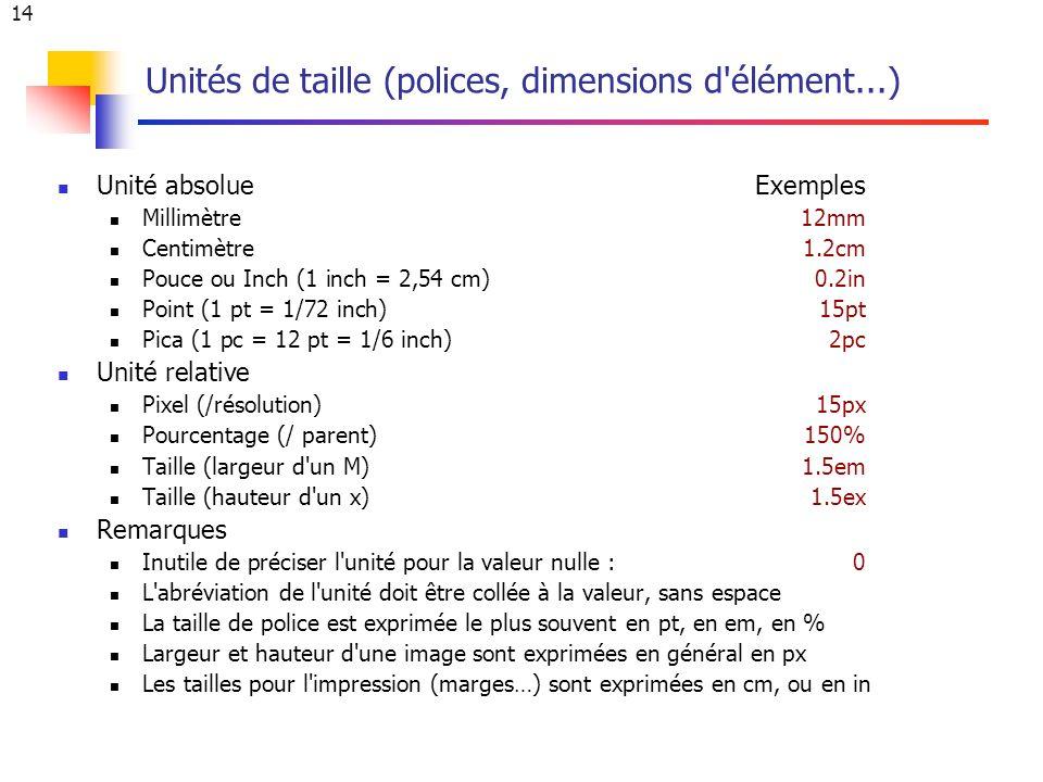 14 Unités de taille (polices, dimensions d élément...) Unité absolueExemples Millimètre12mm Centimètre 1.2cm Pouce ou Inch (1 inch = 2,54 cm) 0.2in Point (1 pt = 1/72 inch)15pt Pica (1 pc = 12 pt = 1/6 inch)2pc Unité relative Pixel (/résolution)15px Pourcentage (/ parent) 150% Taille (largeur d un M)1.5em Taille (hauteur d un x)1.5ex Remarques Inutile de préciser l unité pour la valeur nulle : 0 L abréviation de l unité doit être collée à la valeur, sans espace La taille de police est exprimée le plus souvent en pt, en em, en % Largeur et hauteur d une image sont exprimées en général en px Les tailles pour l impression (marges…) sont exprimées en cm, ou en in