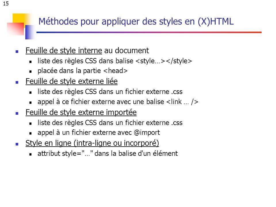 15 Méthodes pour appliquer des styles en (X)HTML Feuille de style interne au document Feuille de style interne liste des règles CSS dans balise placée dans la partie Feuille de style externe liée liste des règles CSS dans un fichier externe.css appel à ce fichier externe avec une balise Feuille de style externe importée liste des règles CSS dans un fichier externe.css appel à un fichier externe avec @import Style en ligne (intra-ligne ou incorporé) attribut style= … dans la balise d un élément