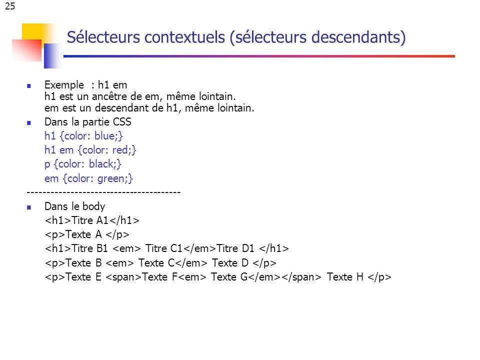 25 Sélecteurs contextuels (sélecteurs descendants) Exemple : h1 em h1 est un ancêtre de em, même lointain.