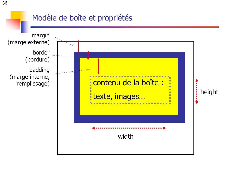 36 Modèle de boîte et propriétés margin (marge externe) border (bordure) padding (marge interne, remplissage) contenu de la boîte : texte, images… width height