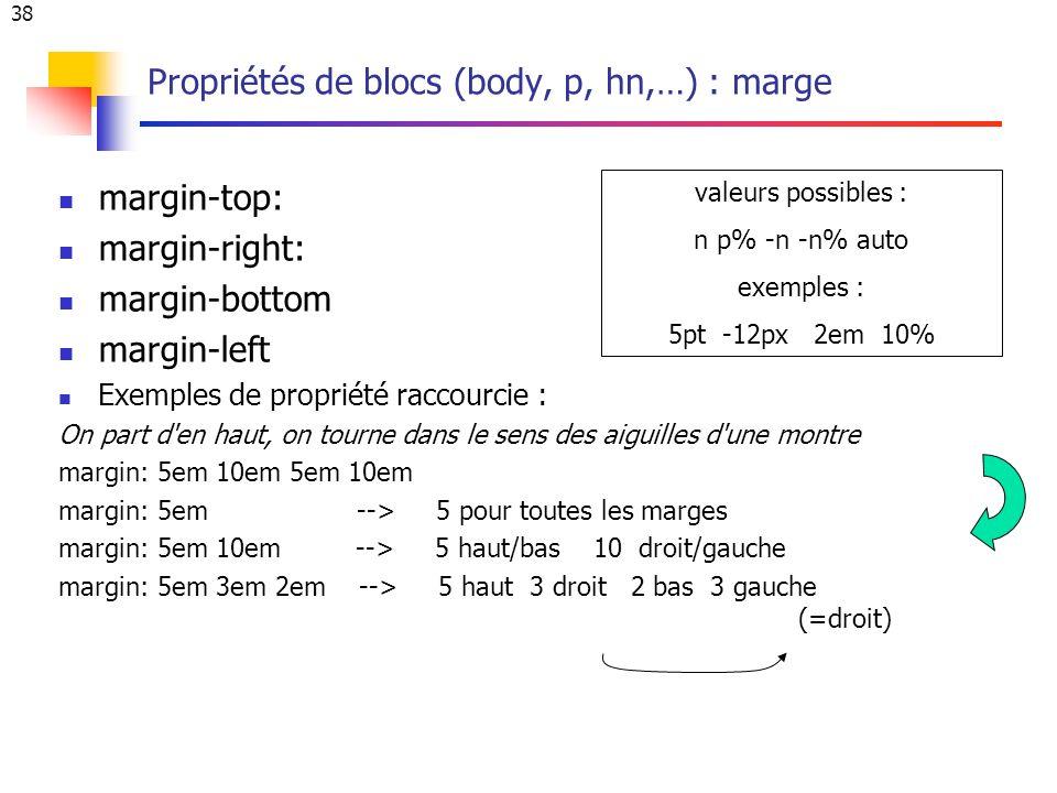 38 Propriétés de blocs (body, p, hn,…) : marge margin-top: margin-right: margin-bottom margin-left Exemples de propriété raccourcie : On part d en haut, on tourne dans le sens des aiguilles d une montre margin: 5em 10em 5em 10em margin: 5em --> 5 pour toutes les marges margin: 5em 10em --> 5 haut/bas 10 droit/gauche margin: 5em 3em 2em --> 5 haut 3 droit 2 bas 3 gauche (=droit) valeurs possibles : n p% -n -n% auto exemples : 5pt -12px 2em 10%