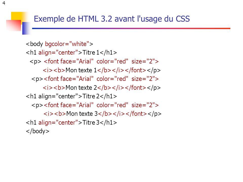 4 Exemple de HTML 3.2 avant l usage du CSS Titre 1 Mon texte 1 Mon texte 2 Titre 2 Mon texte 3 Titre 3
