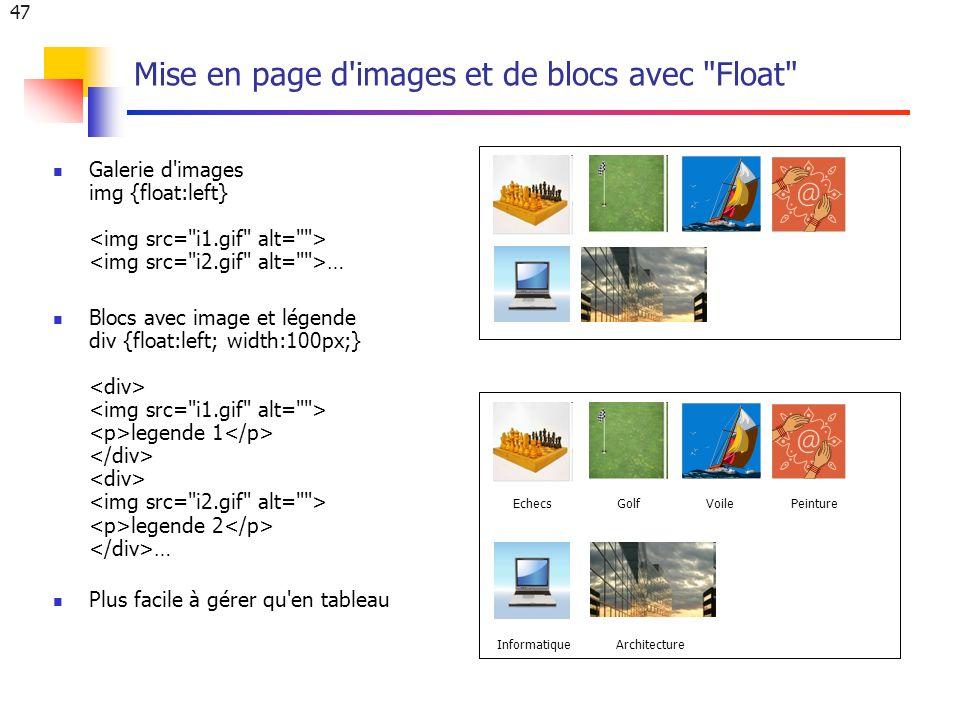 47 Mise en page d images et de blocs avec Float Galerie d images img {float:left} … Blocs avec image et légende div {float:left; width:100px;} legende 1 legende 2 … Plus facile à gérer qu en tableau EchecsGolfVoilePeinture InformatiqueArchitecture