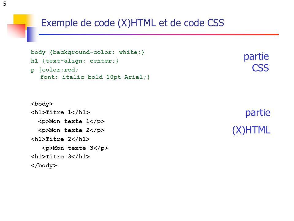6 Dépréciation de balises et attributs du HTML A partir du HTML4, des balises et attributs du HTML3.2 sont dépréciées et remplacées par des styles Balises dépréciées Attributs dépréciés bgcolor= … align= … Balises et attributs dépréciés...