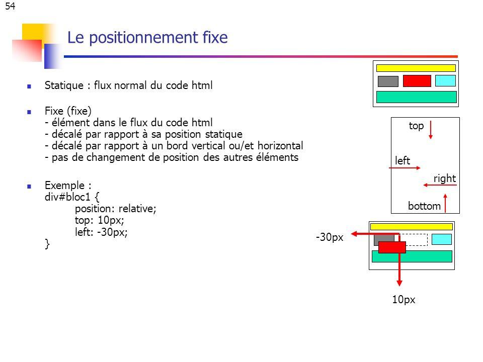 54 Le positionnement fixe Statique : flux normal du code html Fixe (fixe) - élément dans le flux du code html - décalé par rapport à sa position statique - décalé par rapport à un bord vertical ou/et horizontal - pas de changement de position des autres éléments Exemple : div#bloc1 { position: relative; top: 10px; left: -30px; } left top right bottom 10px -30px