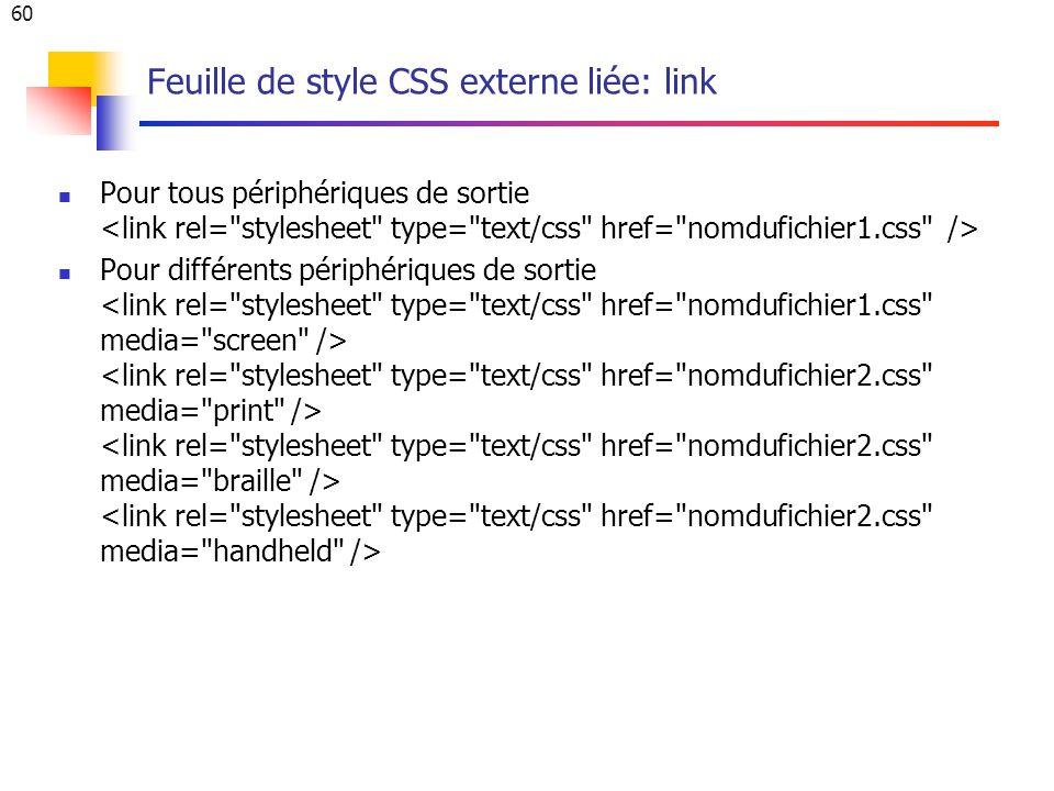 60 Feuille de style CSS externe liée: link Pour tous périphériques de sortie Pour différents périphériques de sortie