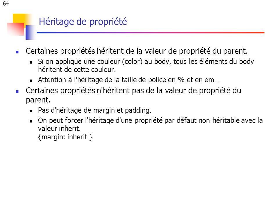 64 Héritage de propriété Certaines propriétés héritent de la valeur de propriété du parent.