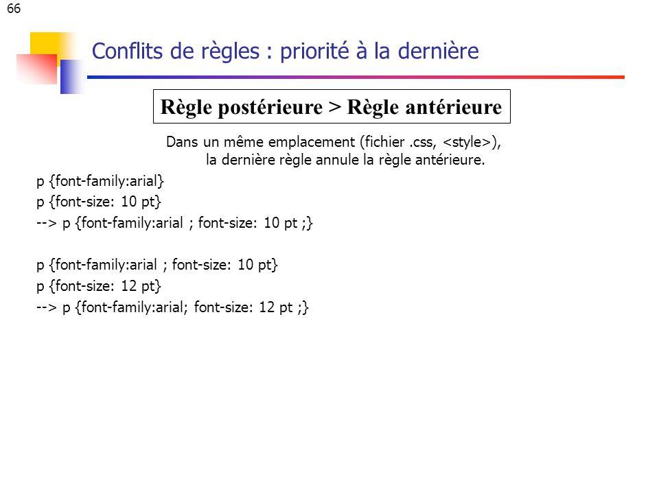 66 Conflits de règles : priorité à la dernière Dans un même emplacement (fichier.css, ), la dernière règle annule la règle antérieure.
