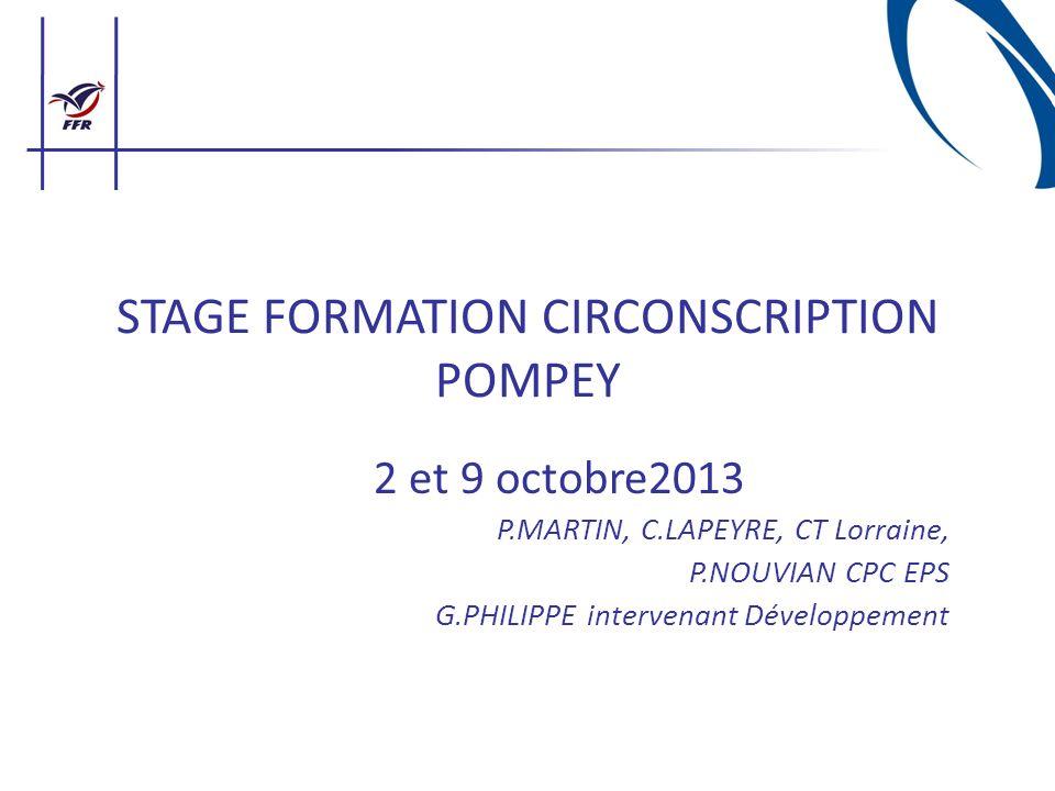STAGE FORMATION CIRCONSCRIPTION POMPEY 2 et 9 octobre2013 P.MARTIN, C.LAPEYRE, CT Lorraine, P.NOUVIAN CPC EPS G.PHILIPPE intervenant Développement