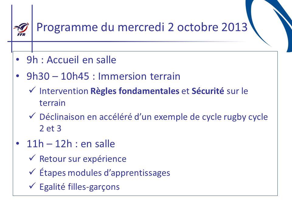 Programme du mercredi 2 octobre 2013 9h : Accueil en salle 9h30 – 10h45 : Immersion terrain Intervention Règles fondamentales et Sécurité sur le terra