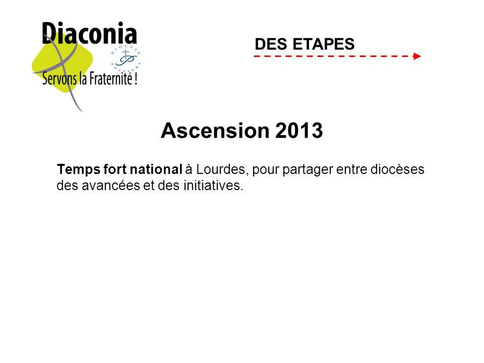 Ascension 2013 Temps fort national à Lourdes, pour partager entre diocèses des avancées et des initiatives. DES ETAPES