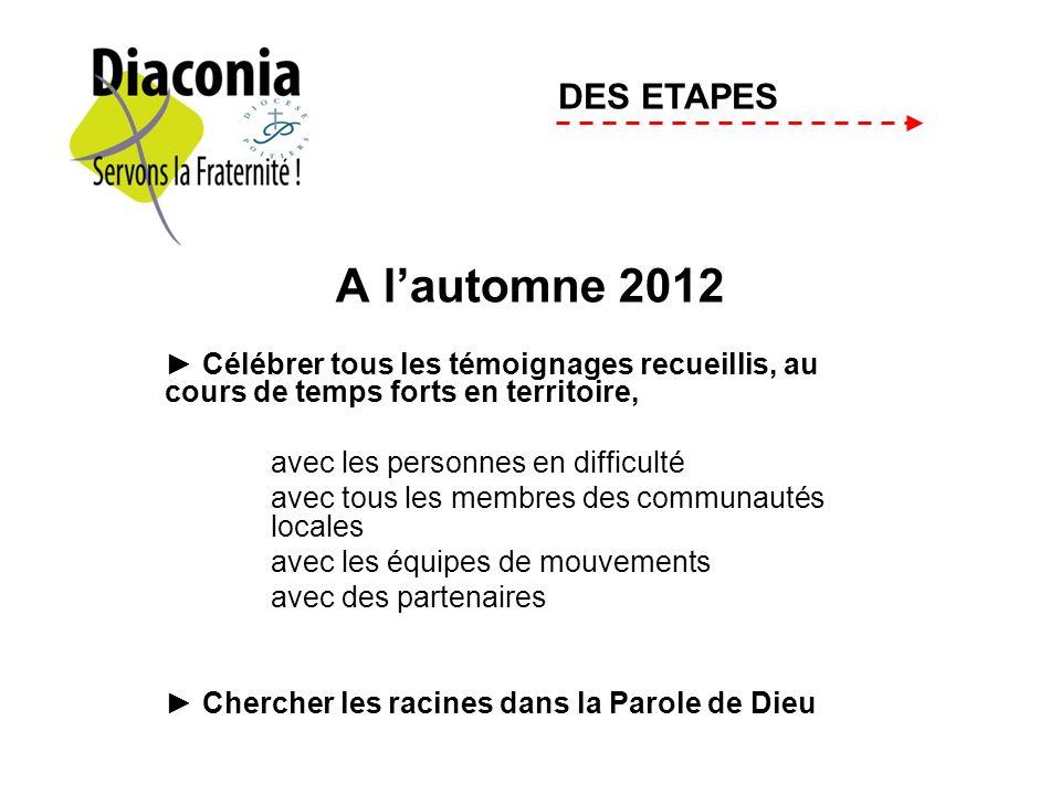 A lautomne 2012 Célébrer tous les témoignages recueillis, au cours de temps forts en territoire, avec les personnes en difficulté avec tous les membre