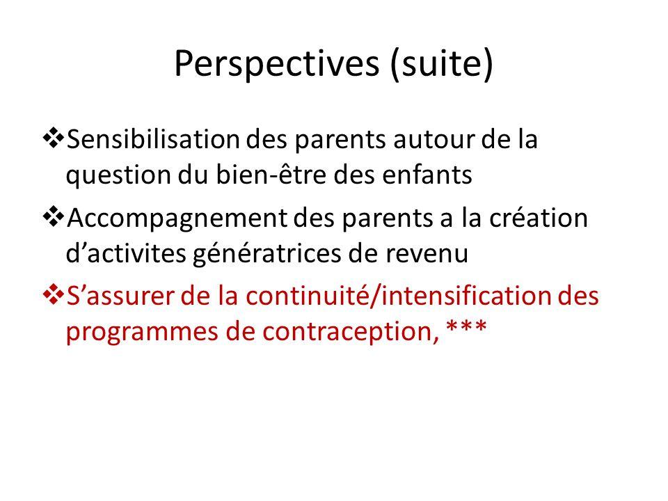 Perspectives (suite) Sensibilisation des parents autour de la question du bien-être des enfants Accompagnement des parents a la création dactivites gé