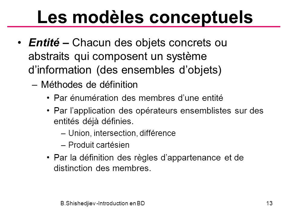 Les modèles conceptuels Entité – Chacun des objets concrets ou abstraits qui composent un système dinformation (des ensembles dobjets) –Méthodes de dé