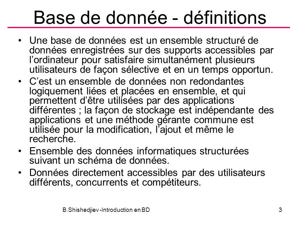 Base de donnée - définitions Une base de données est un ensemble structuré de données enregistrées sur des supports accessibles par lordinateur pour s