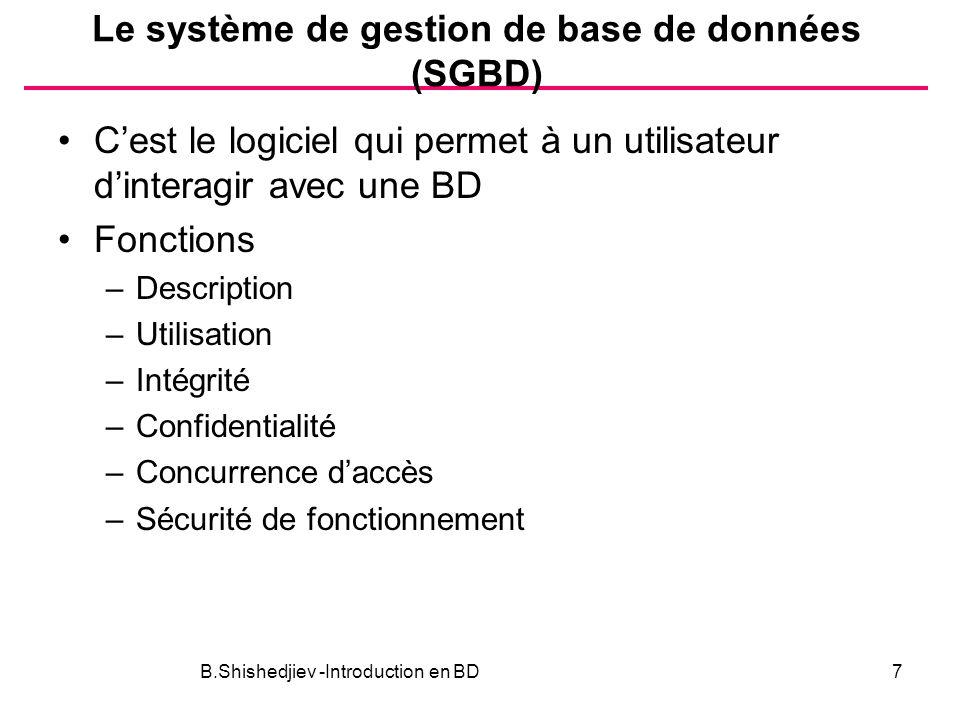 Le système de gestion de base de données (SGBD) Cest le logiciel qui permet à un utilisateur dinteragir avec une BD Fonctions –Description –Utilisatio