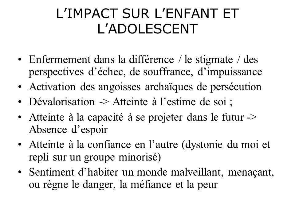 LIMPACT SUR LENFANT ET LADOLESCENT Enfermement dans la différence / le stigmate / des perspectives déchec, de souffrance, dimpuissance Activation des