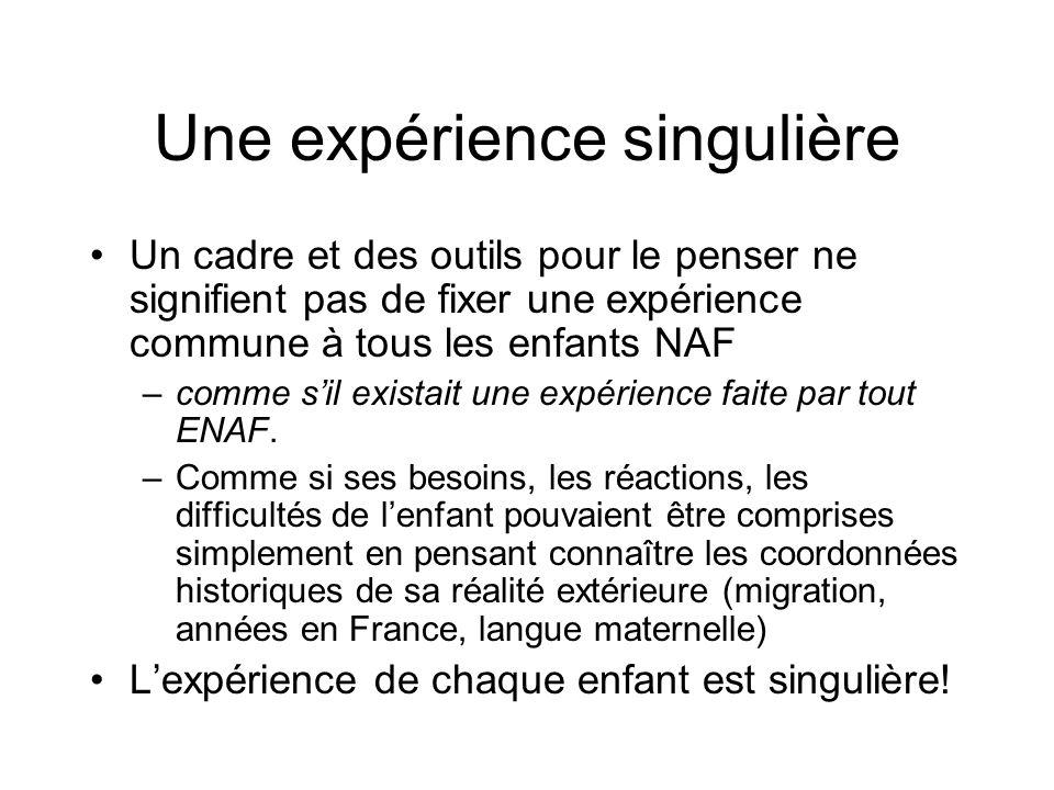 Une expérience singulière Un cadre et des outils pour le penser ne signifient pas de fixer une expérience commune à tous les enfants NAF –comme sil ex