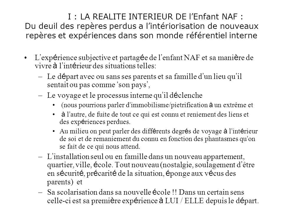 I : LA REALITE INTERIEUR DE lEnfant NAF : Du deuil des repères perdus a lintériorisation de nouveaux repères et expériences dans son monde référentiel