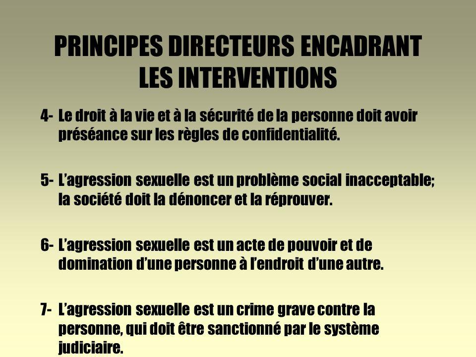 PRINCIPES DIRECTEURS ENCADRANT LES INTERVENTIONS 1-Toute personne a droit au respect de son intégrité physique et psychologique.