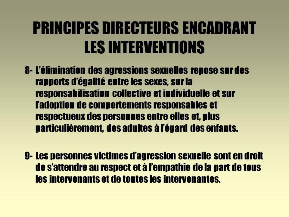 PRINCIPES DIRECTEURS ENCADRANT LES INTERVENTIONS 4-Le droit à la vie et à la sécurité de la personne doit avoir préséance sur les règles de confidentialité.