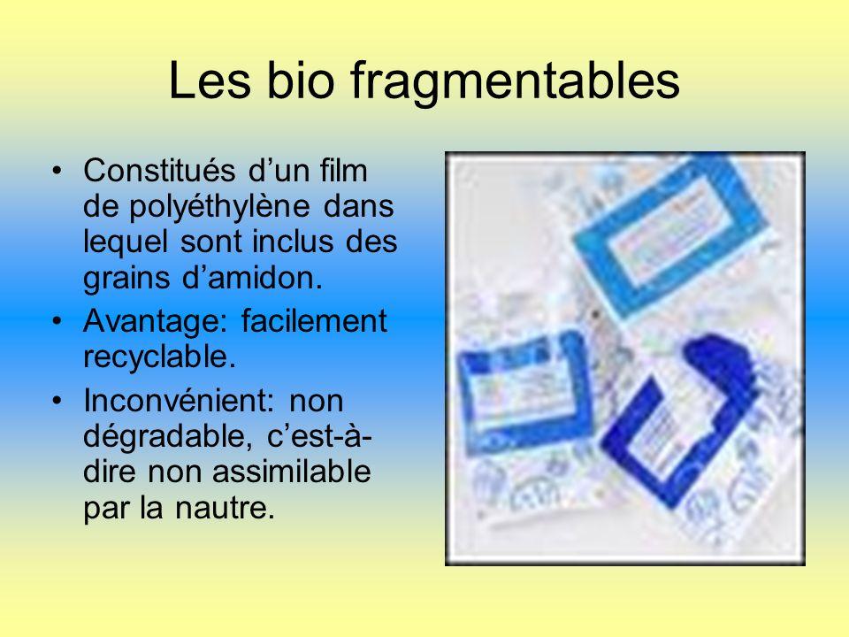 Les bio fragmentables Constitués dun film de polyéthylène dans lequel sont inclus des grains damidon.