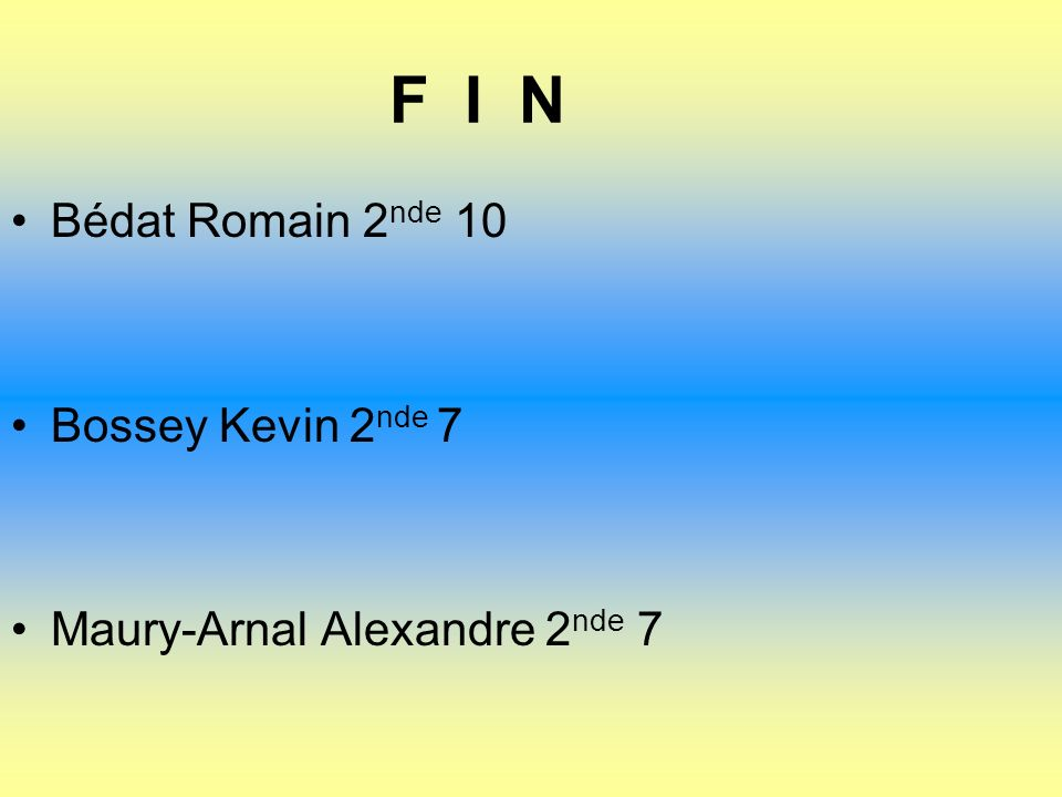 F I N Bédat Romain 2 nde 10 Bossey Kevin 2 nde 7 Maury-Arnal Alexandre 2 nde 7