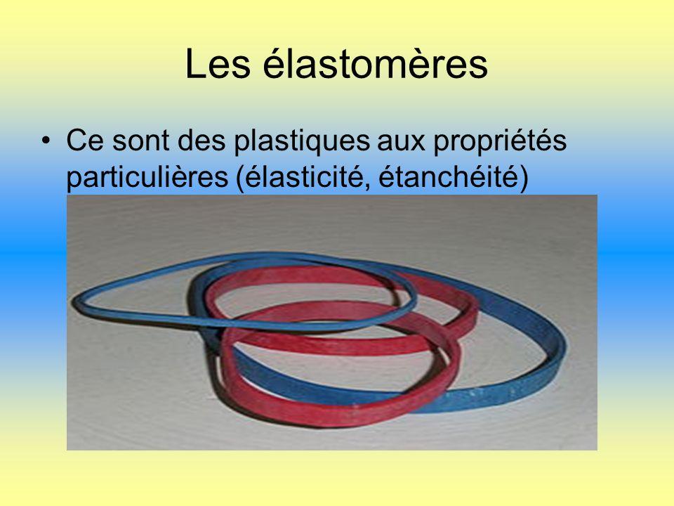 Les élastomères Ce sont des plastiques aux propriétés particulières (élasticité, étanchéité)