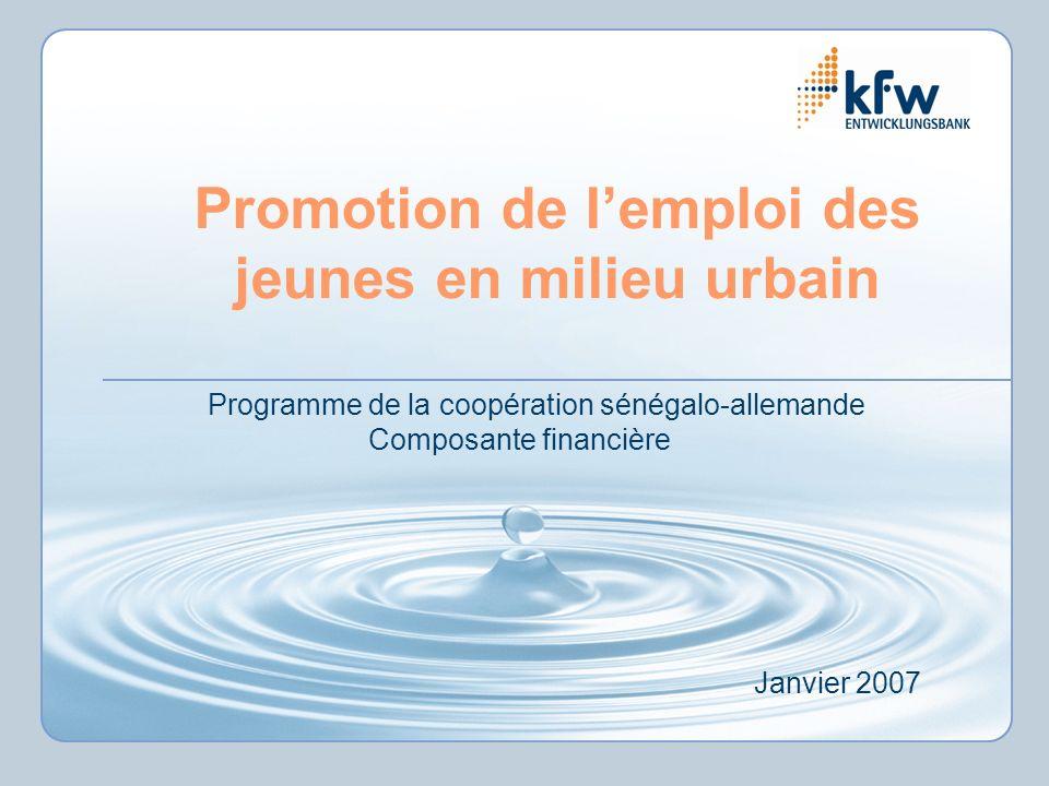 Promotion de lemploi des jeunes en milieu urbain Programme de la coopération sénégalo-allemande Composante financière Janvier 2007