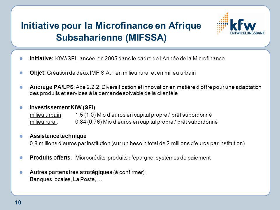 10 Initiative pour la Microfinance en Afrique Subsaharienne (MIFSSA) Initiative: KfW/SFI, lancée en 2005 dans le cadre de lAnnée de la Microfinance Objet: Création de deux IMF S.A.