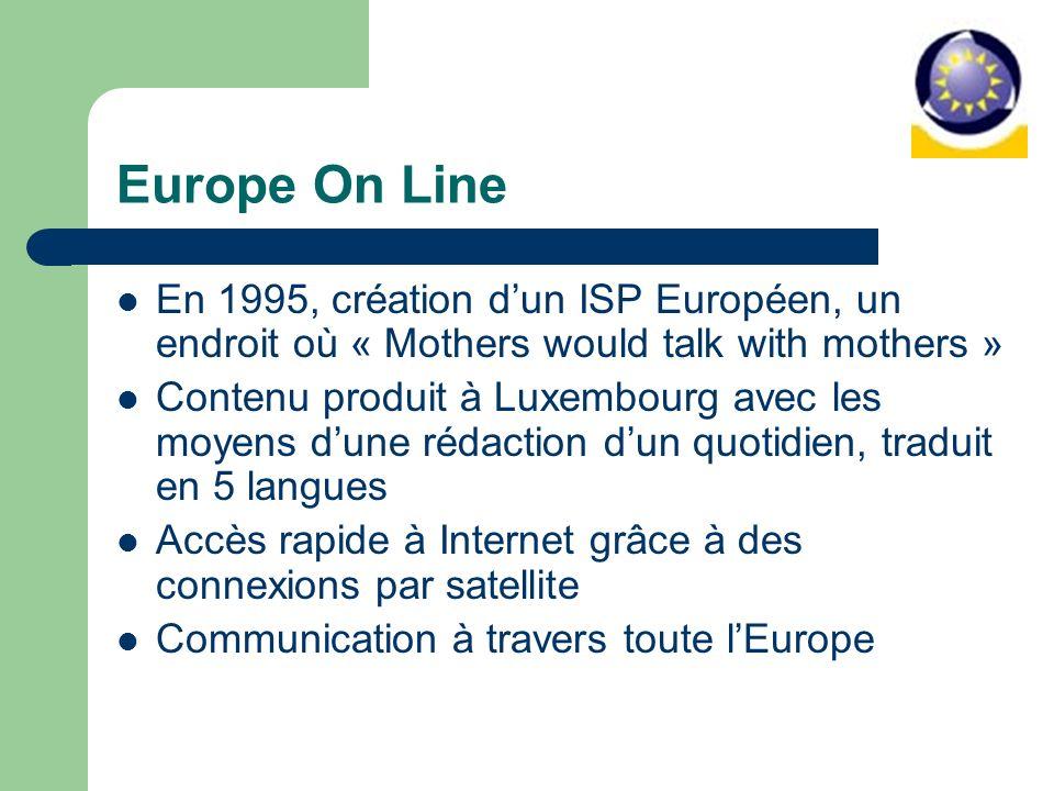 Europe On Line En 1995, création dun ISP Européen, un endroit où « Mothers would talk with mothers » Contenu produit à Luxembourg avec les moyens dune rédaction dun quotidien, traduit en 5 langues Accès rapide à Internet grâce à des connexions par satellite Communication à travers toute lEurope