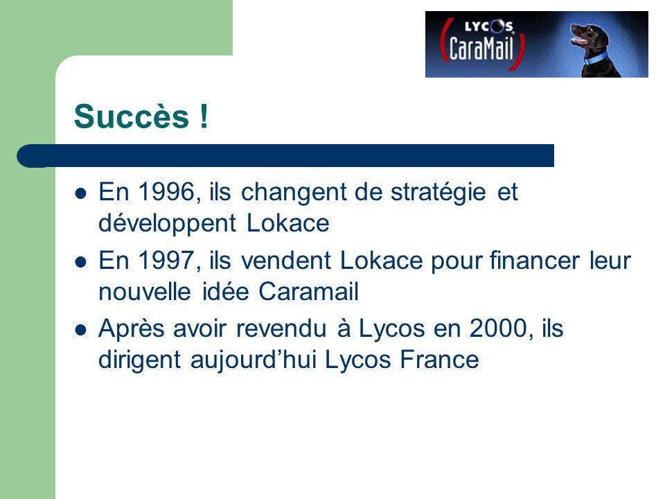 Succès ! En 1996, ils changent de stratégie et développent Lokace En 1997, ils vendent Lokace pour financer leur nouvelle idée Caramail Après avoir re