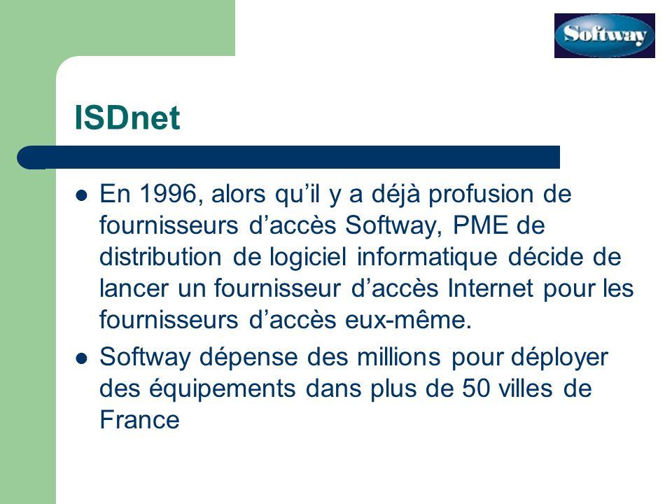 ISDnet En 1996, alors quil y a déjà profusion de fournisseurs daccès Softway, PME de distribution de logiciel informatique décide de lancer un fournisseur daccès Internet pour les fournisseurs daccès eux-même.