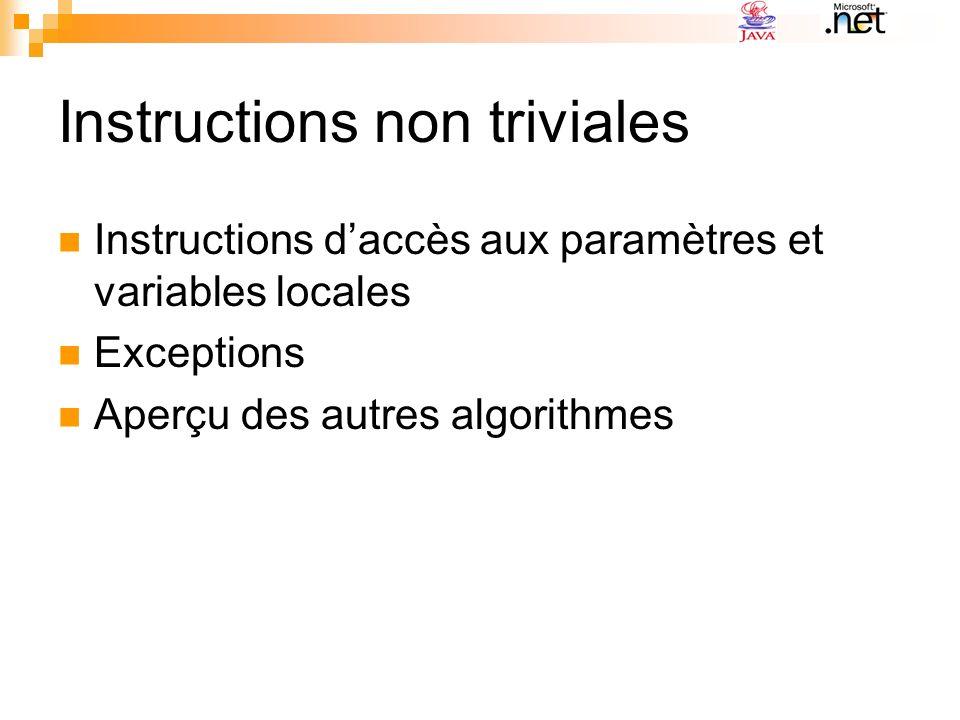 Instructions non triviales Instructions daccès aux paramètres et variables locales Exceptions Aperçu des autres algorithmes