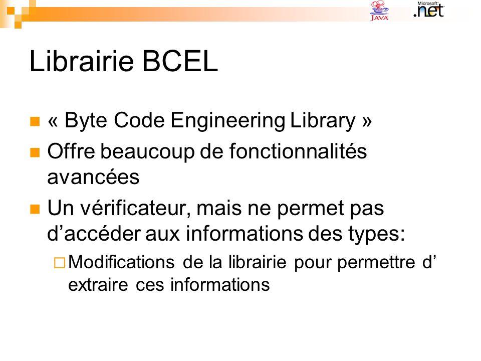 Librairie BCEL « Byte Code Engineering Library » Offre beaucoup de fonctionnalités avancées Un vérificateur, mais ne permet pas daccéder aux informati