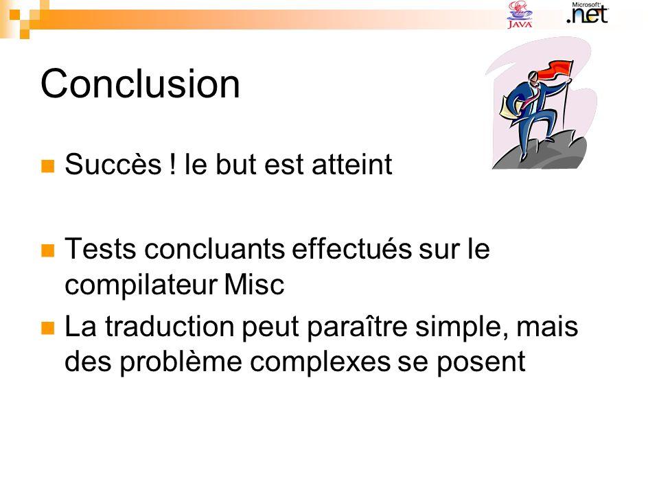 Conclusion Succès ! le but est atteint Tests concluants effectués sur le compilateur Misc La traduction peut paraître simple, mais des problème comple