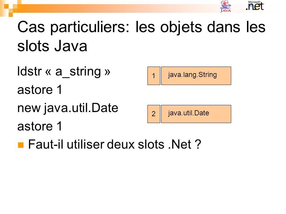 Cas particuliers: les objets dans les slots Java ldstr « a_string » astore 1 new java.util.Date astore 1 Faut-il utiliser deux slots.Net ? 1 java.lang