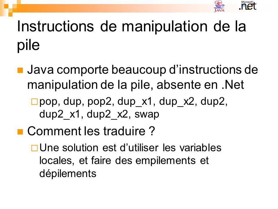 Instructions de manipulation de la pile Java comporte beaucoup dinstructions de manipulation de la pile, absente en.Net pop, dup, pop2, dup_x1, dup_x2