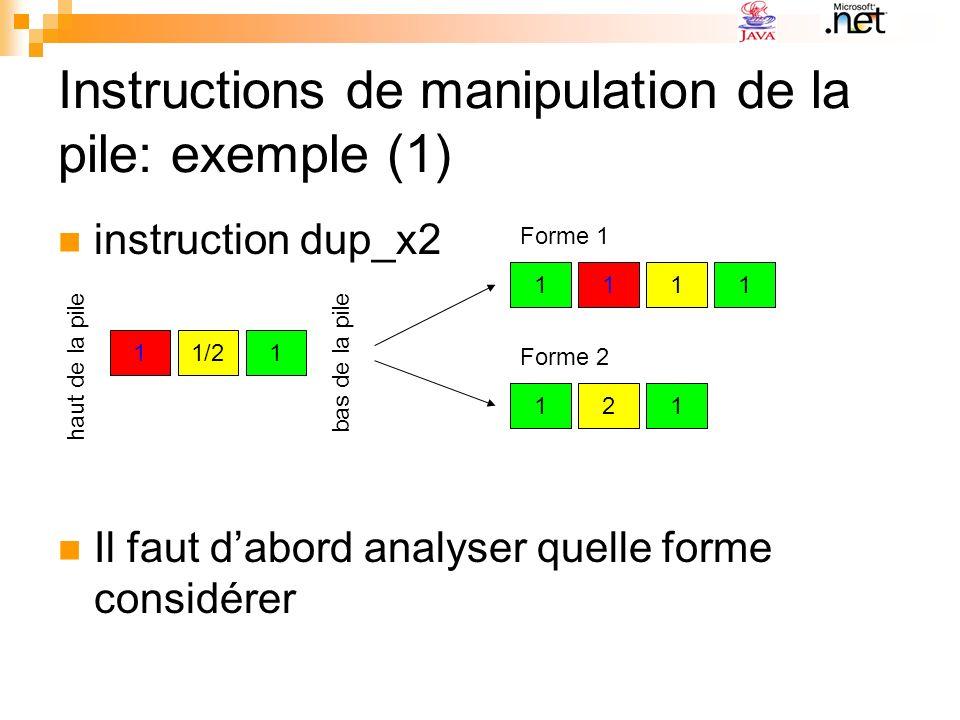 Instructions de manipulation de la pile: exemple (1) instruction dup_x2 Il faut dabord analyser quelle forme considérer 11/21 11 2 11 11 haut de la pi