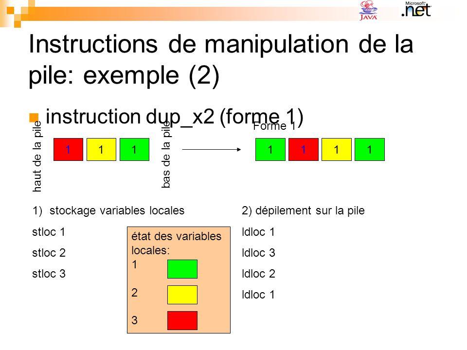 Instructions de manipulation de la pile: exemple (2) instruction dup_x2 (forme 1) 1111111 haut de la pile bas de la pile Forme 1 1)stockage variables