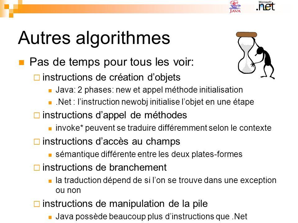 Autres algorithmes Pas de temps pour tous les voir: instructions de création dobjets Java: 2 phases: new et appel méthode initialisation.Net : linstru