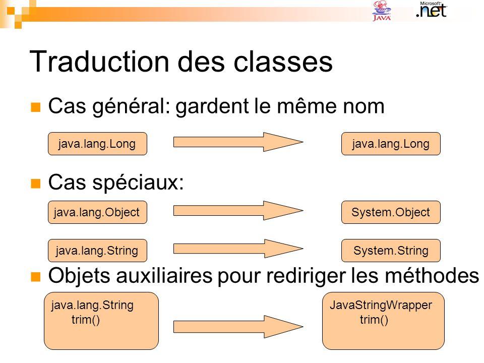 Traduction des classes: cas de java.lang.Object java.lang.Object System.Object java.lang.Object System.Object .