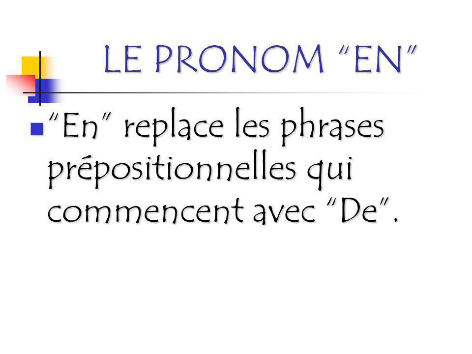 LE PRONOM EN En replace les phrases prépositionnelles qui commencent avec De.